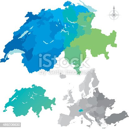 istock Switzerland Cantons Europe Map 489206630