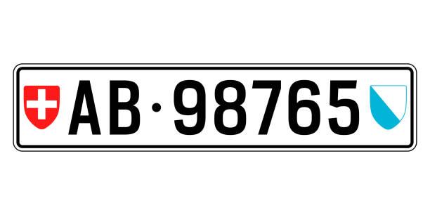 schweiz auto platte. kfz-kennzeichen - nummernschilder stock-grafiken, -clipart, -cartoons und -symbole