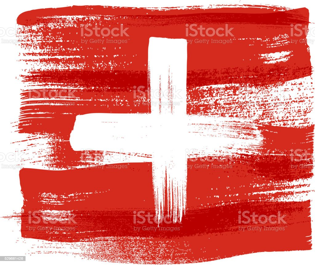 Switzerland colorful brush strokes painted flag vector art illustration