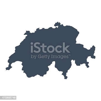 A graphic illustrated vector image showing the outline of the country Switzerland. The outline of the country is filled with a dark navy blue colour and is on a plain white background. The border of the country is a detailed path.