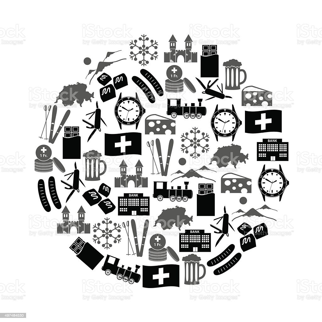 Switzerland country theme symbols icons in circle eps10 vector art illustration