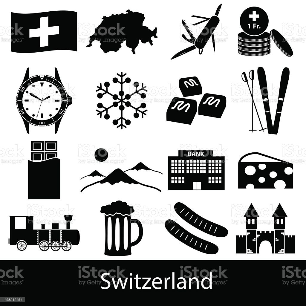 Switzerland country theme symbols icons set eps10 vector art illustration