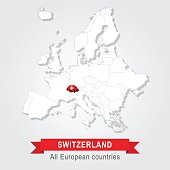 Switzerland. Europe administrative map.