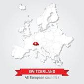 Switzerland. Europe administrative map.