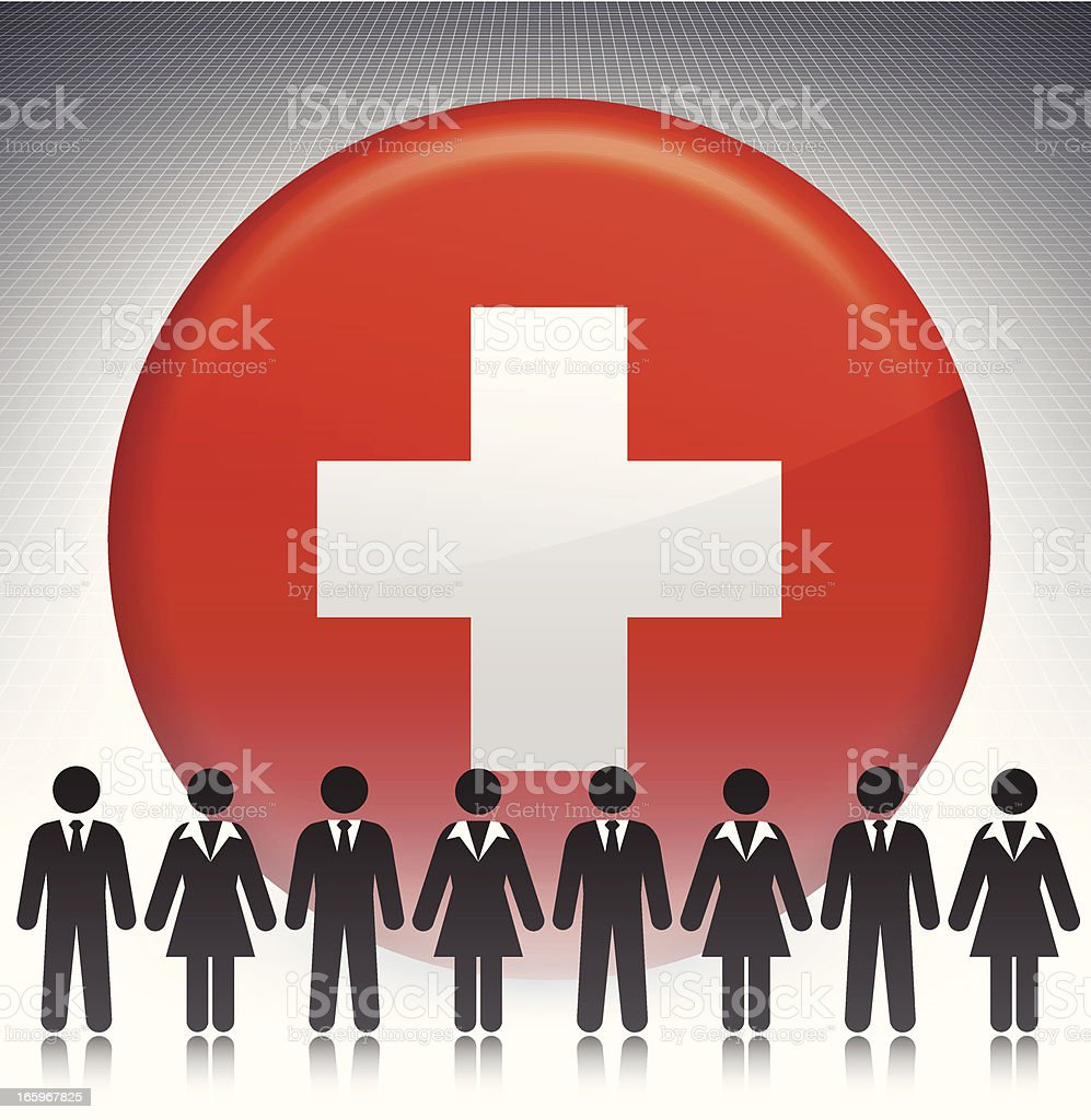 Switzerland Flag Button with Business Concept Stick Figures royalty-free stock vector art