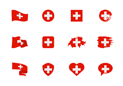 Switzerland flag - flat collection. Flags of different shaped twelve flat icons.