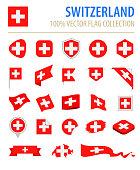 Switzerland - Flag Icon Flat Vector Set