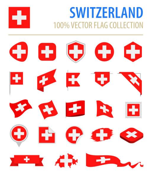 Switzerland - Flag Icon Flat Vector Set Switzerland - Flag Icon Flat Vector Set swiss culture stock illustrations