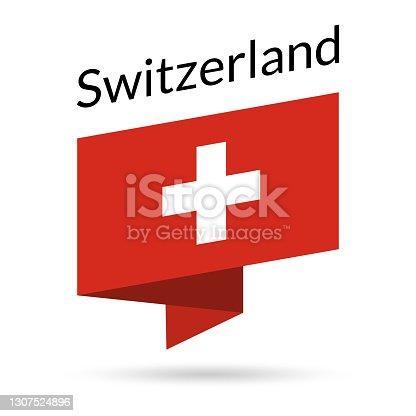 istock Switzerland flag icon. Swiss national emblem in origami style. Vector illustration. 1307524896