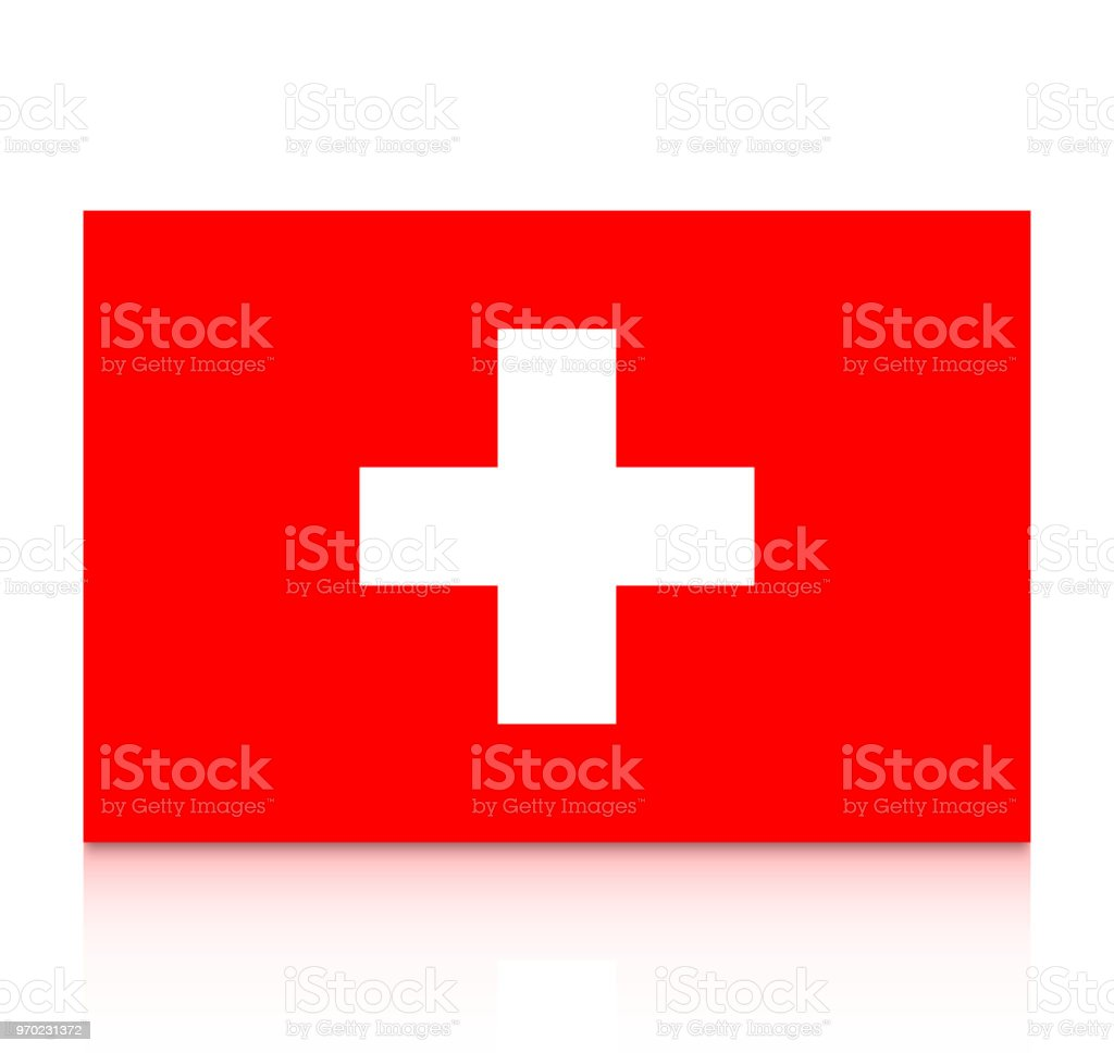 Switzerland Flag Icon With Reflection Isolated On White Background