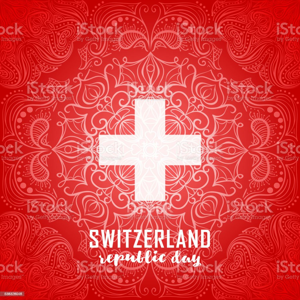 Switzerland flag. Independence Swiss national day vector art illustration