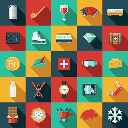 Switzerland Flat Design Icon Set