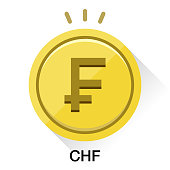 Switzerland franc CHF money. Gold coin Vector illustration image