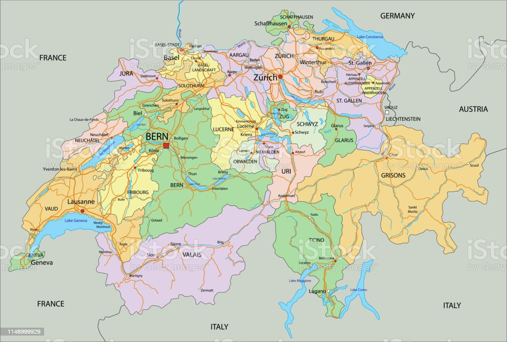 Picture of: Switzerland Highly Detailed Editable Political Map With Labeling Stock Illustration Download Image Now Istock
