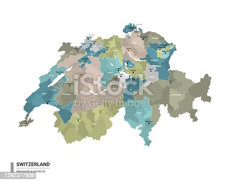 istock Switzerland higt detailed map with subdivisions. Administrative map of Switzerland with districts and cities name, colored by states and administrative districts. Vector illustration. 1292377939