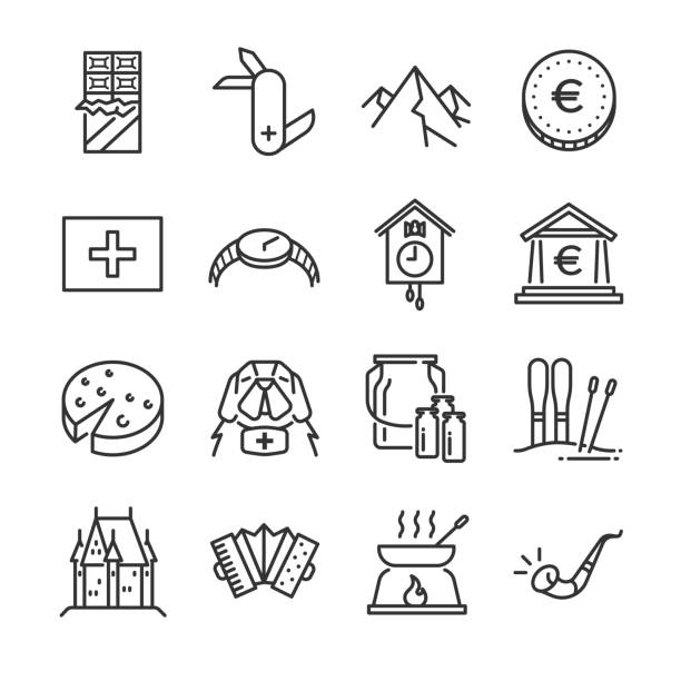 Switzerland icon set. Included the icons as rescue dog, milk, chocolate, cheese, alps mountain, euro coin, castle and more. Switzerland icon set. Included the icons as rescue dog, milk, chocolate, cheese, alps mountain, euro coin, castle and more. swiss culture stock illustrations