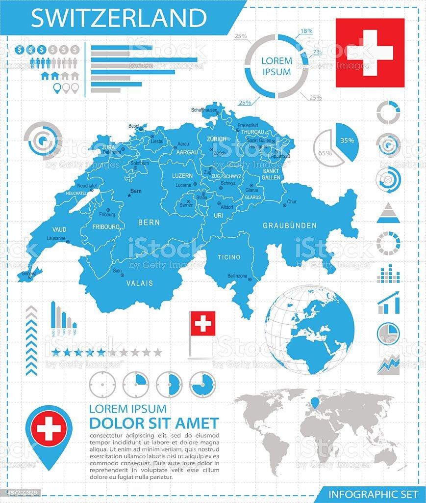 Switzerland Infographic Map Illustration Stock Vector Art More