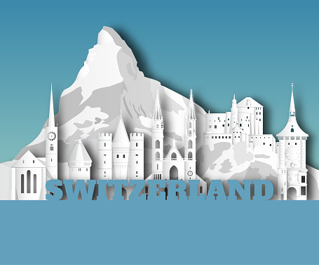 Switzerland Landmark Global Travel And Journey paper background. Vector Design Template.used for your advertisement, book, banner, template, travel business or presentation.