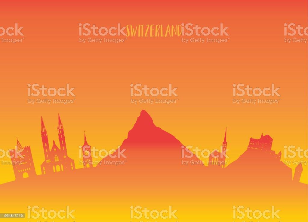 Switzerland Landmark Global Travel And Journey paper background. Vector Design Template.used for your advertisement, book, banner, template, travel business or presentation. vector art illustration