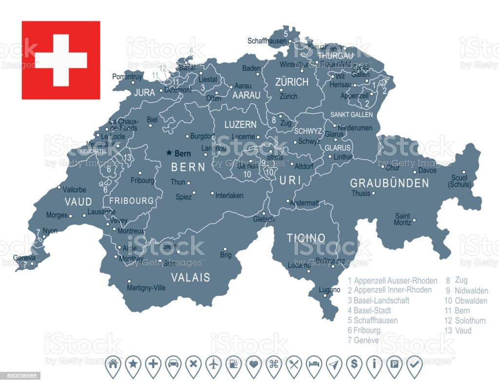Switzerland Map And Flag Illustration Stock Vector Art More
