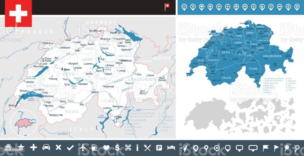Switzerland Map And Flag Infographic Illustration Stock Vector Art