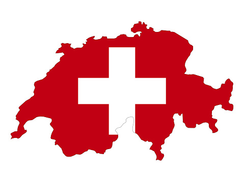 Switzerland map and flag