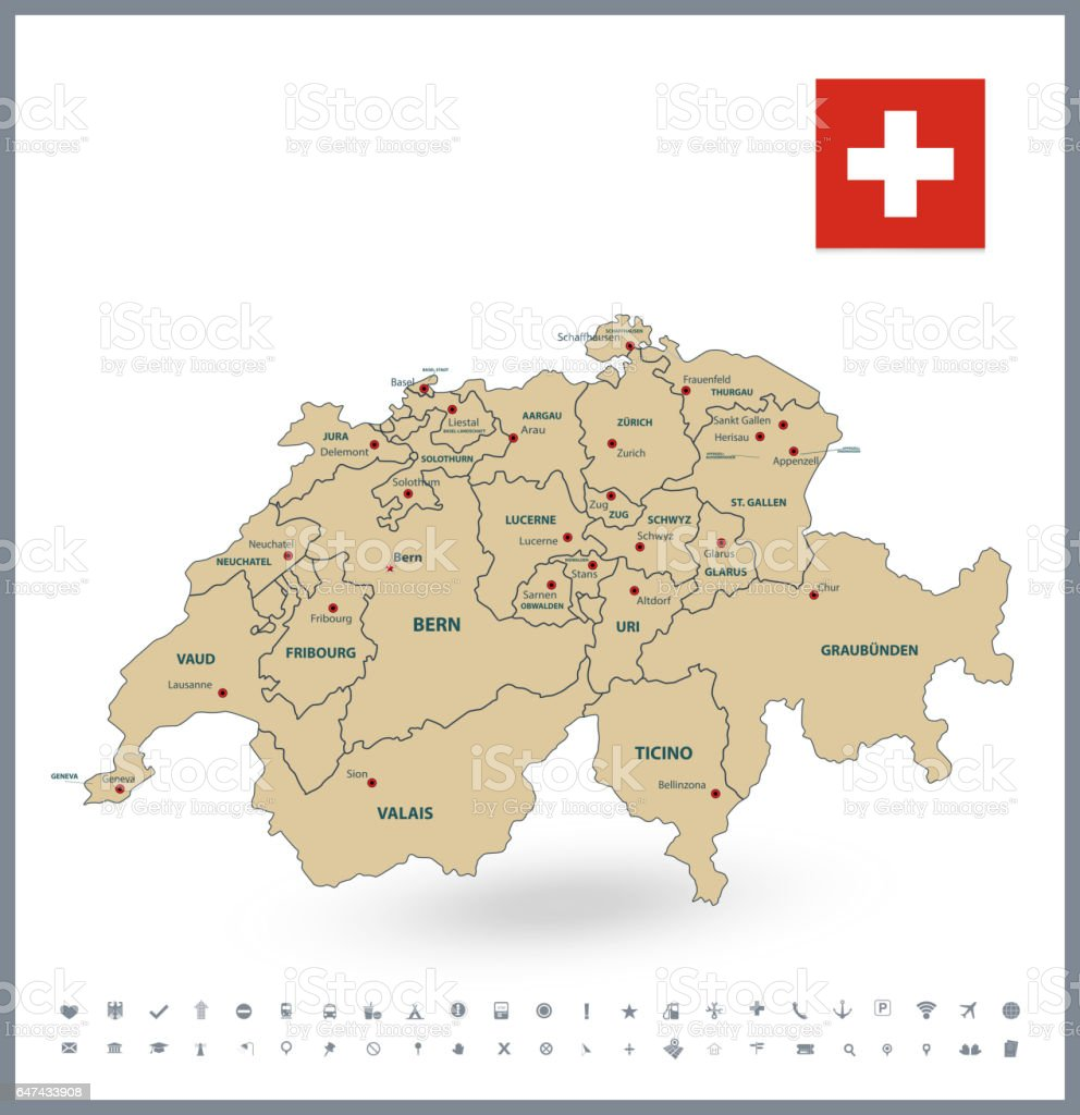 Switzerland map and glyph icons vector art illustration