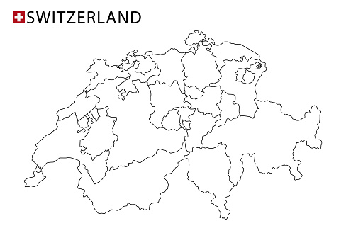 Switzerland map, black and white detailed outline regions of the country.