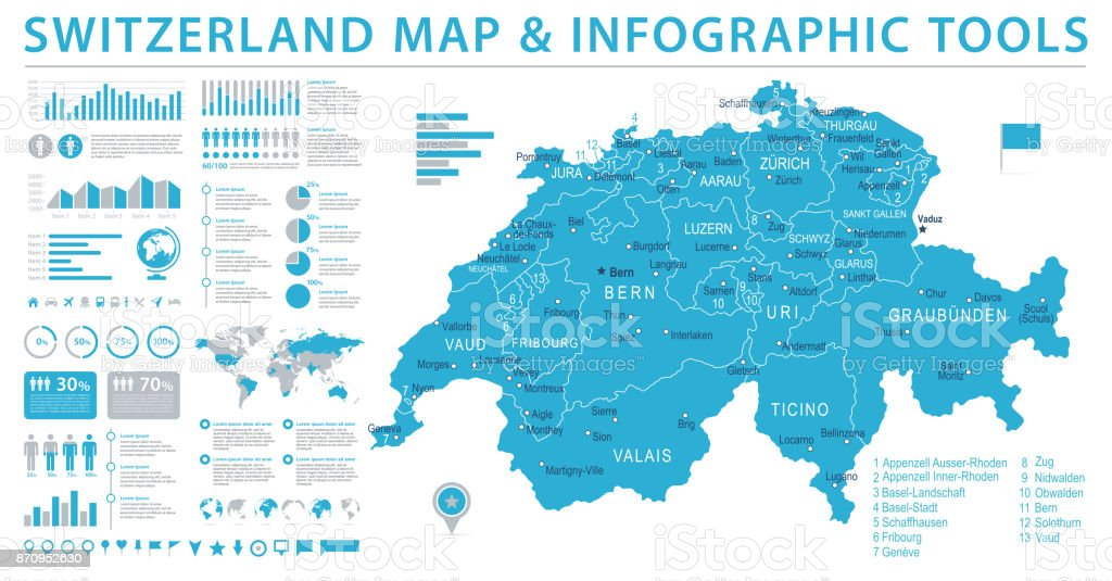 Switzerland Map Info Graphic Vector Illustration Stock Vector Art