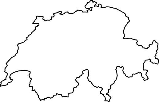 Switzerland map of black contour curves of vector illustration