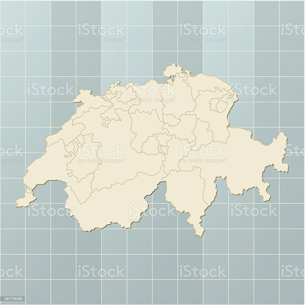 Switzerland map on grid vector art illustration