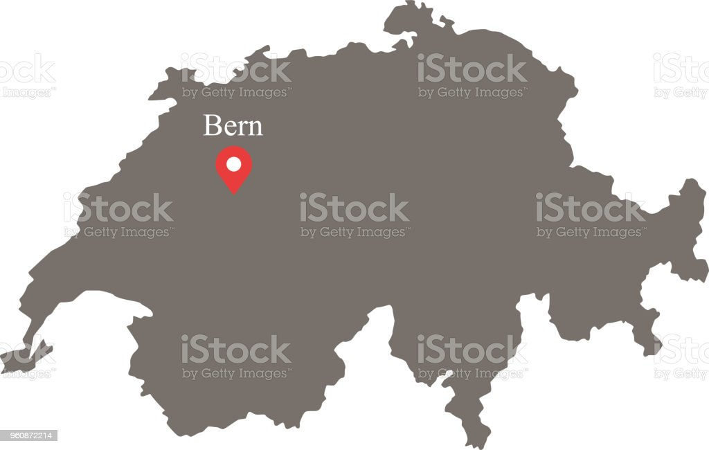 Switzerland Map Vector Outline With Capital Location And ...