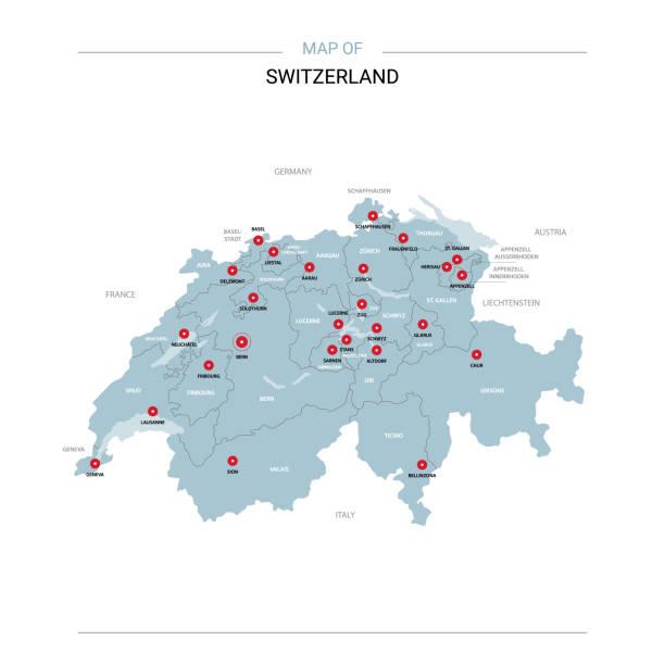 switzerland map vector with red pin. - швейцария stock illustrations
