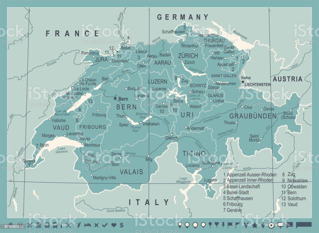 Schweiz Karte Vintage Vektorillustration Stock Vektor Art Und Mehr