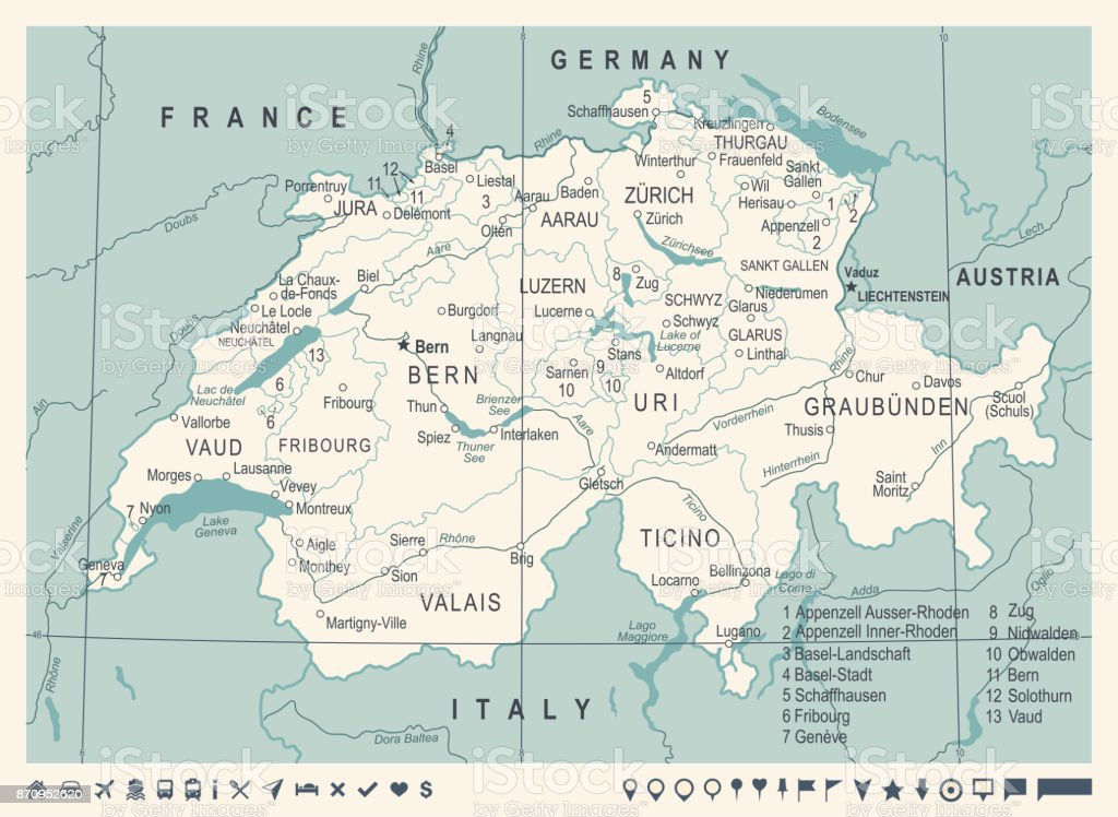Switzerland Map Vintage Vector Illustration Stock Vector Art More