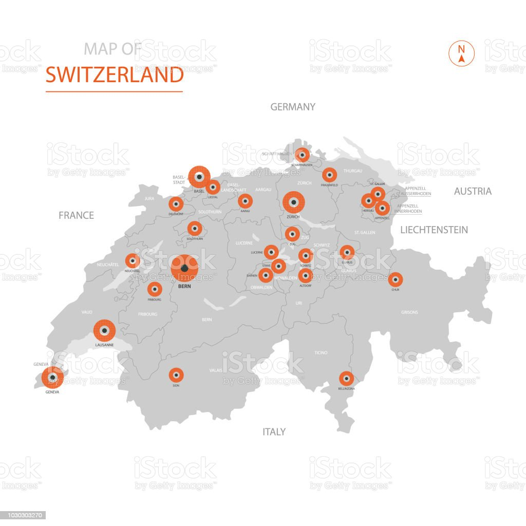 Picture of: Switzerland Map With Administrative Divisions Stock Illustration Download Image Now Istock