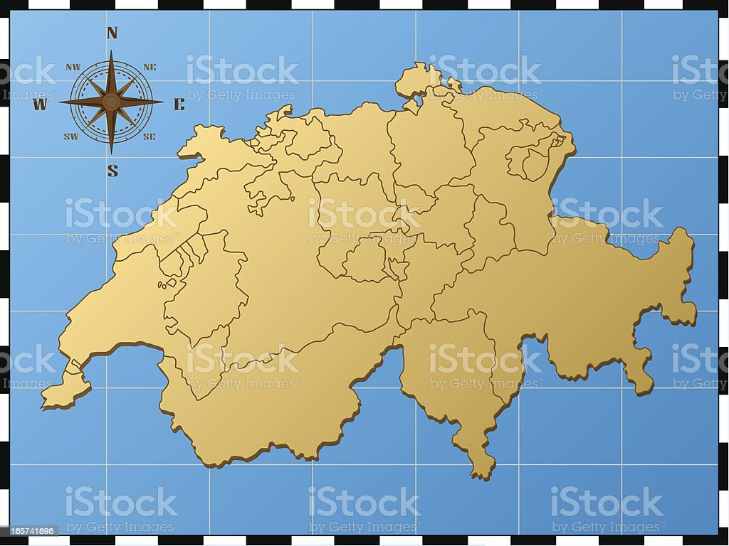 switzerland map with compass rose stock vector art & more images of
