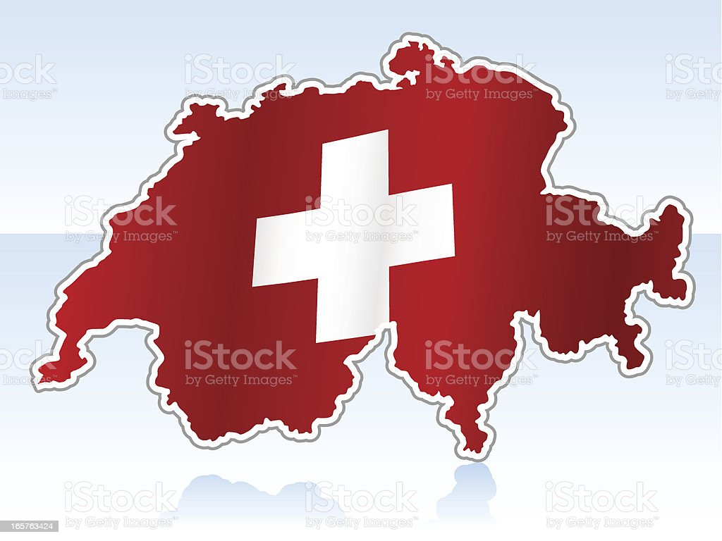 Switzerland map with flag royalty-free stock vector art