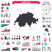 Switzerland map with infographic elements - Big creative graphic set
