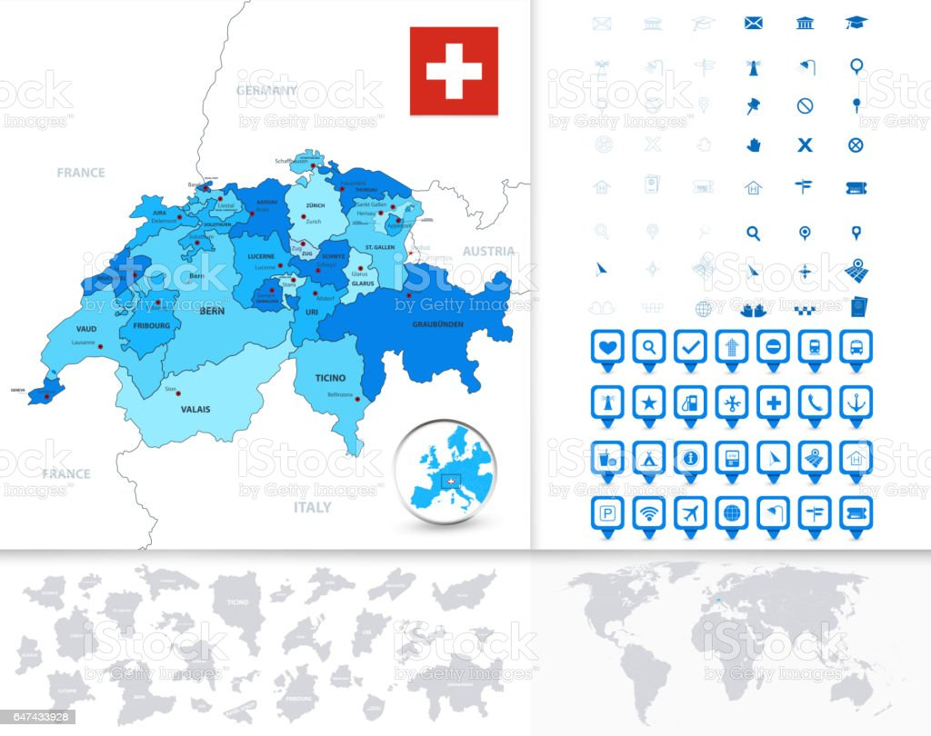 Switzerland Map with Navigation Icons vector art illustration