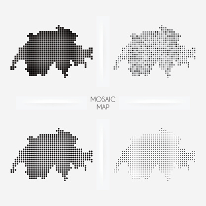 Switzerland maps - Mosaic squarred and dotted