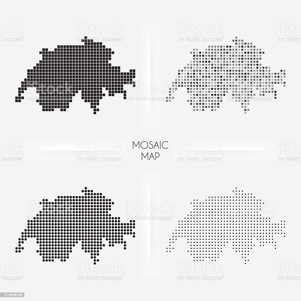Switzerland maps - Mosaic squarred and dotted vector art illustration