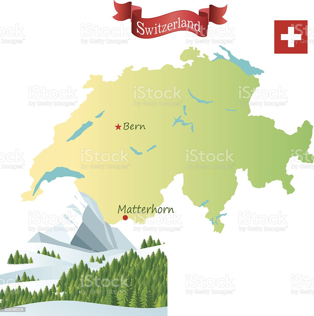 Switzerland, Matterhorn vector art illustration
