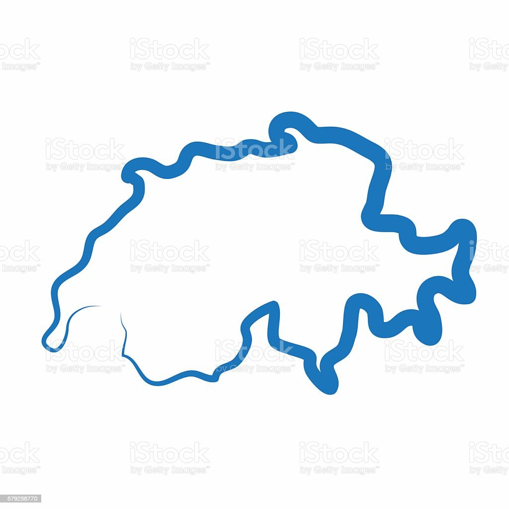 switzerland outline map made from a single line royalty free stock vector art