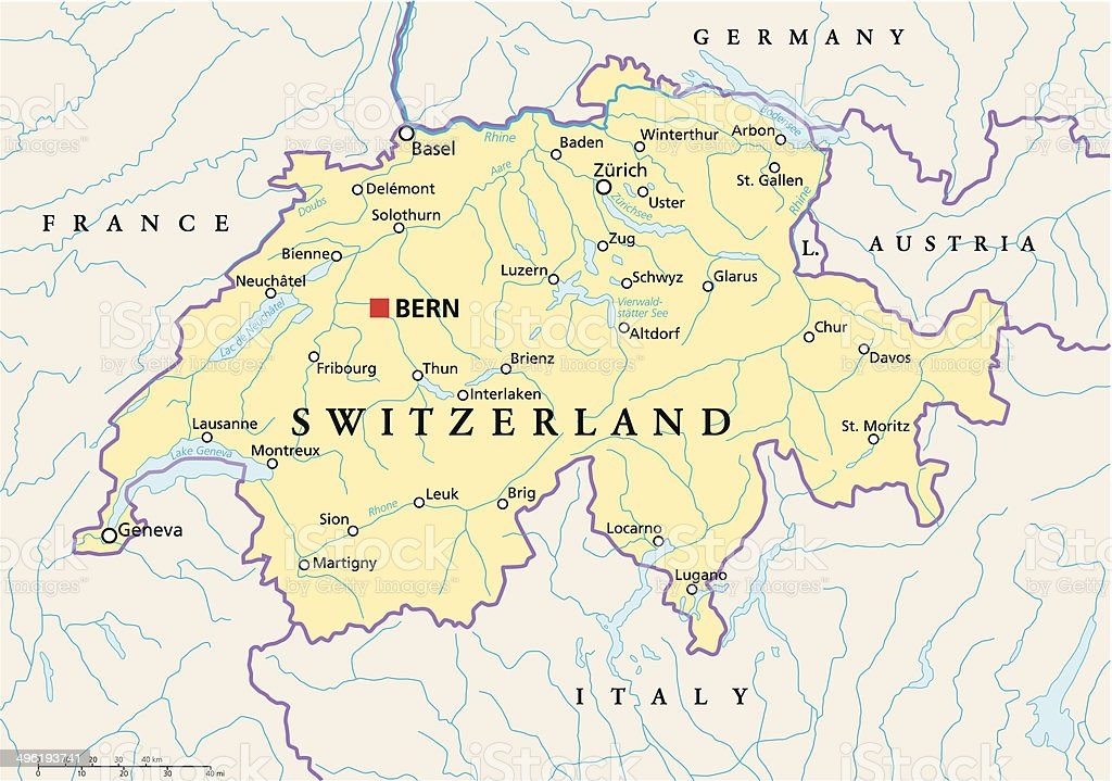 Picture of: Switzerland Political Map Stock Illustration Download Image Now Istock