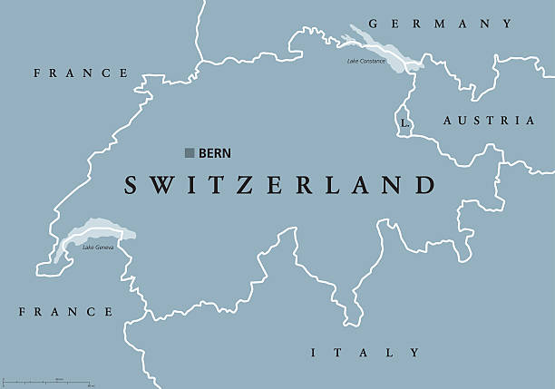 Switzerland political map Switzerland political map with capital Bern, national borders and neighbor countries. Swiss Confederation, a federal republic in Europe. Gray illustration with English labeling over white. Vector. Bodensee stock illustrations