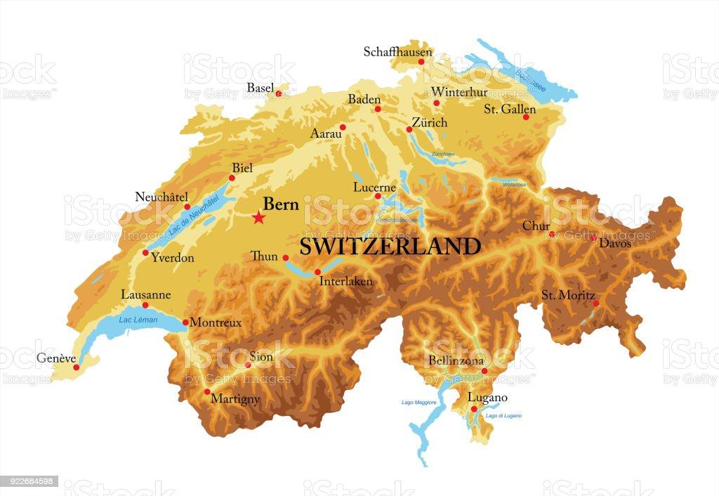 Switzerland relief map vector art illustration
