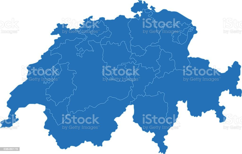 Switzerland simple blue map on white background vector art illustration