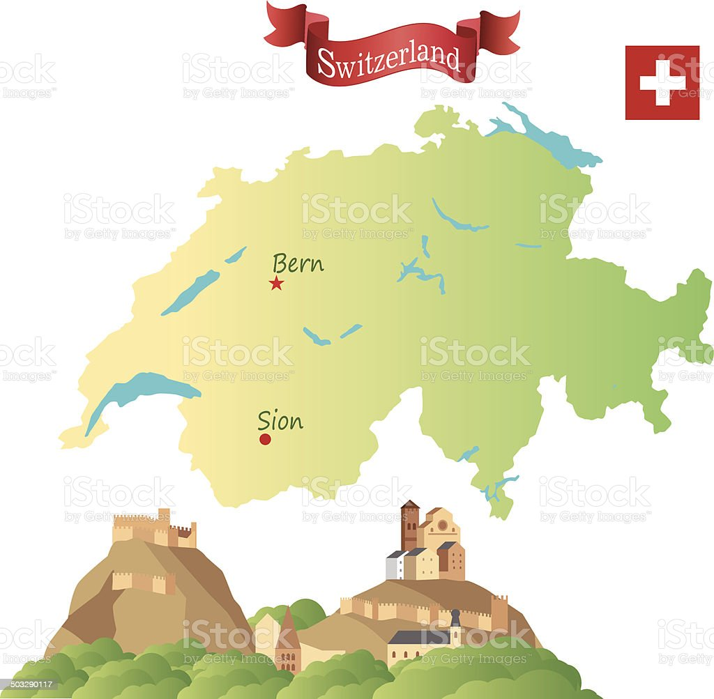 Switzerland, Sion vector art illustration