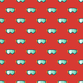 Switzerland Ski Goggles Seamless Pattern
